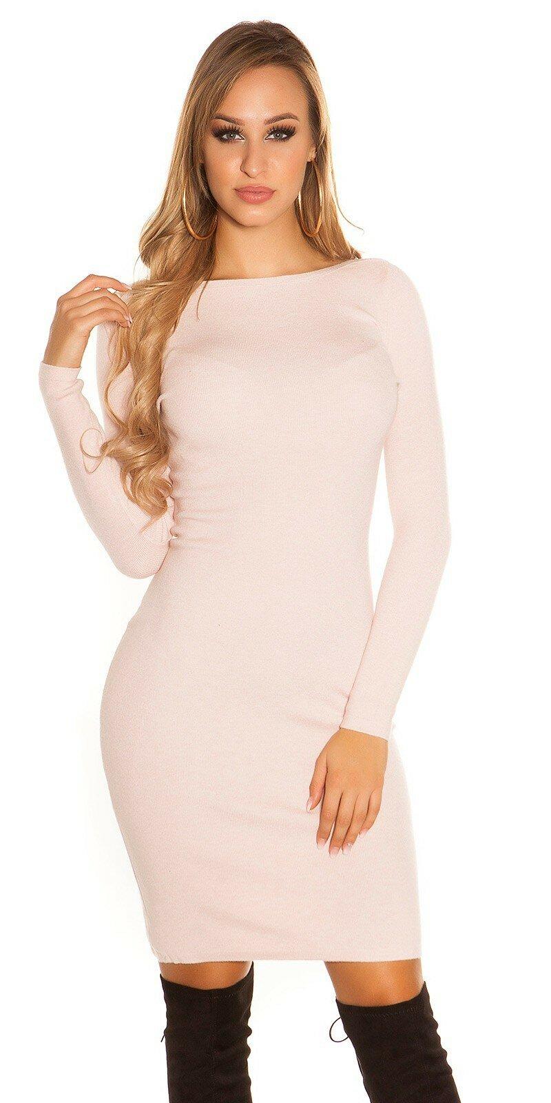1f0a2b5ad1 ... Pletené šaty s veľkými gombíkmi Bledá ružová ...
