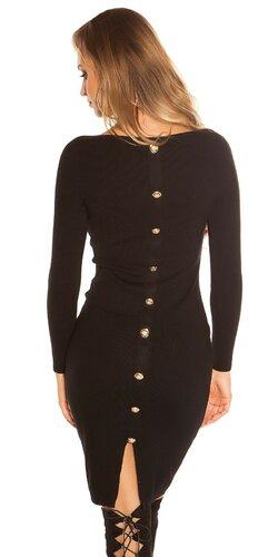 Pletené šaty s veľkými gombíkmi | Čierna