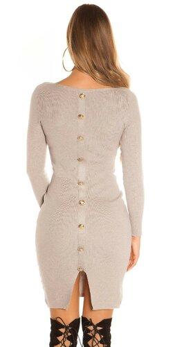 Pletené šaty s veľkými gombíkmi | Cappuccino