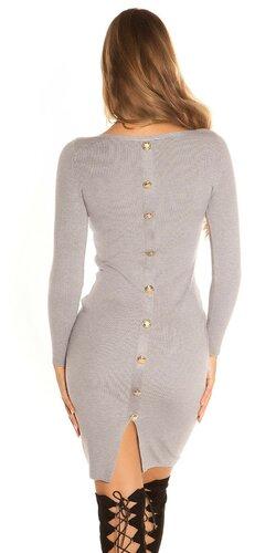 Pletené šaty s veľkými gombíkmi | Šedá
