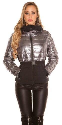 Dvojfarebná zimná bunda | Strieborná