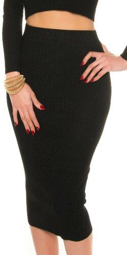 Maxi pletená sukňa s vrúbkovaním