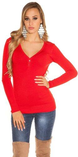 Klasický sveter s V výstrihom Červená