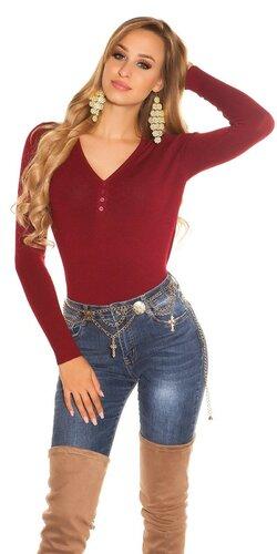 Klasický sveter s V výstrihom | Bordová