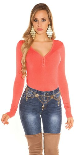 Klasický sveter s V výstrihom | Koralová
