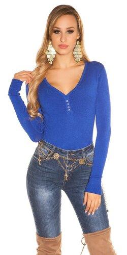 Klasický sveter s V výstrihom | Modrá