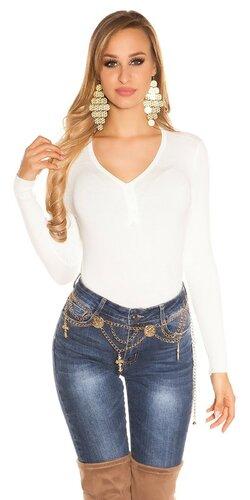 Klasický sveter s V výstrihom | Biela