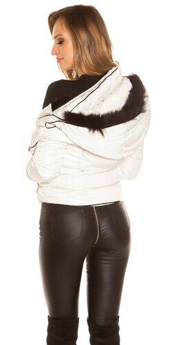 Krátka zimná bunda so zlatými zipsami Béžová