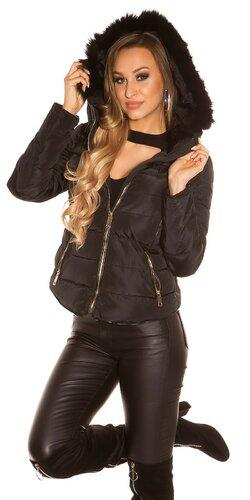 Krátka zimná bunda so zlatými zipsami | Čierna