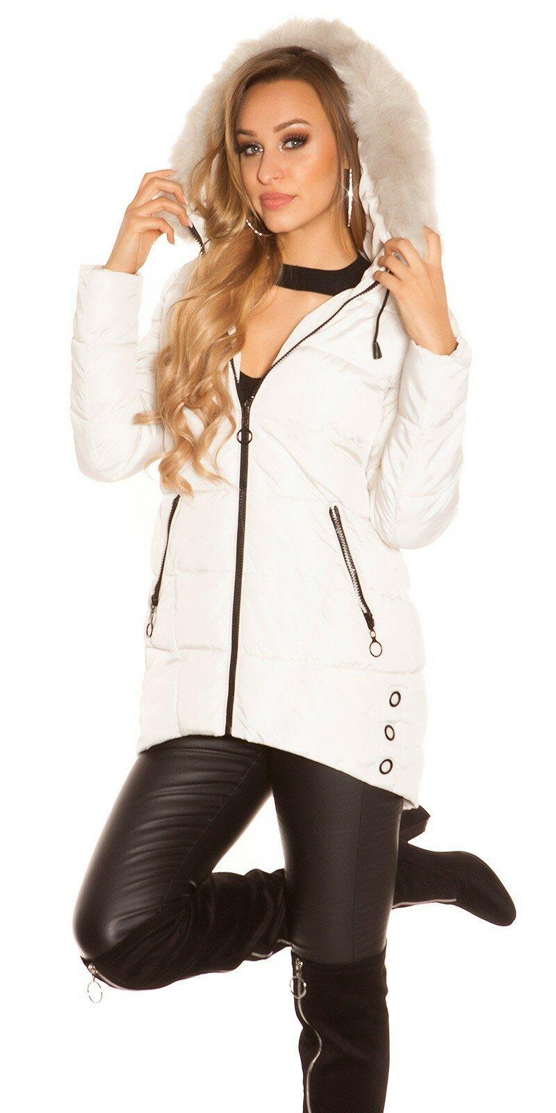 Dlhá zimná bunda s čiernymi zipsami #Veľkosť S Farba Béžová
