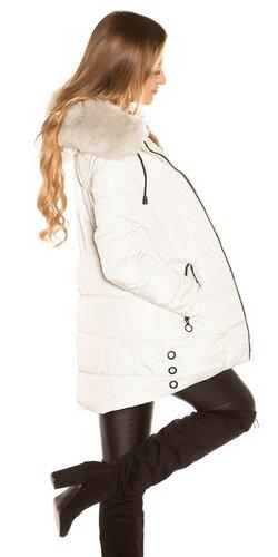 Dlhá zimná bunda s čiernymi zipsami Béžová