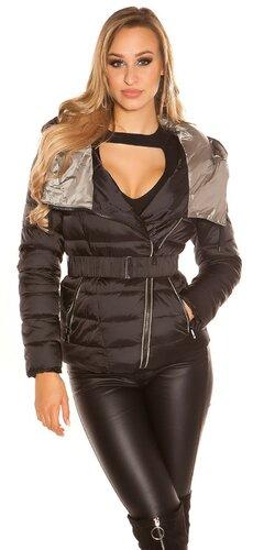 Moderná prešívaná bunda   Čierna