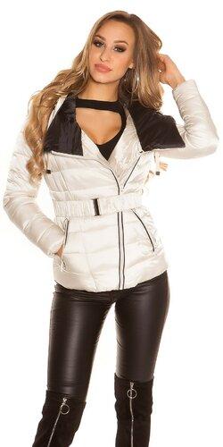 Moderná prešívaná bunda | Krémová