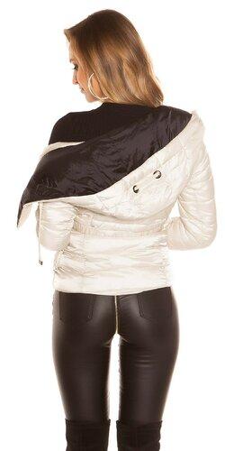 Moderná prešívaná bunda Krémová