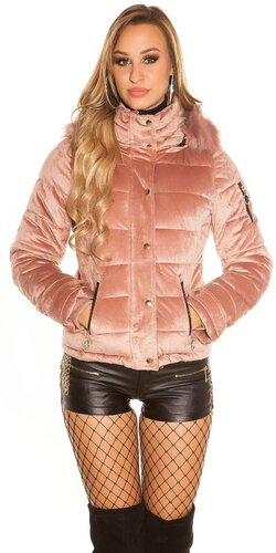 Velvet zimná bunda | Bledá ružová