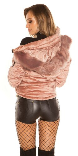 Velvet zimná bunda Bledá ružová