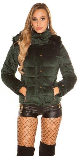 Velvet zimná bunda | Zelená
