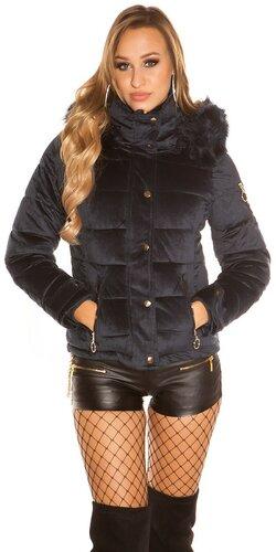 Velvet zimná bunda | Tmavomodrá