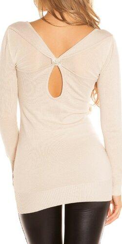 Pletené mini šaty s kamienkovou sponou na chrbáte | Béžová