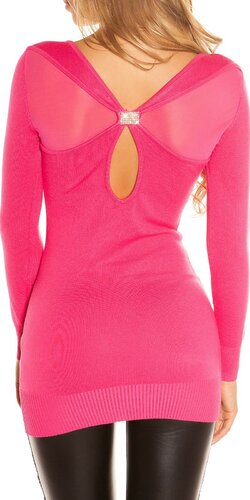 Pletené mini šaty s kamienkovou sponou na chrbáte | Ružová