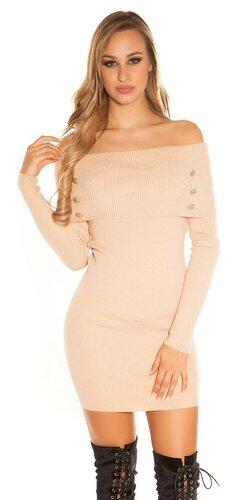 Pletené šaty s odhalenými ramenami | Béžová