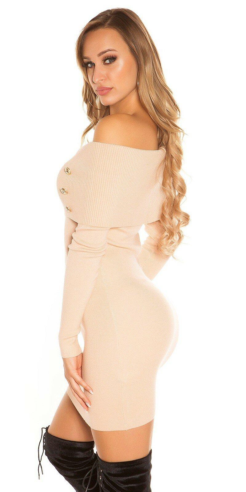 855d7885d311 Pletené šaty s odhalenými ramenami - NajlepsiaModa.sk