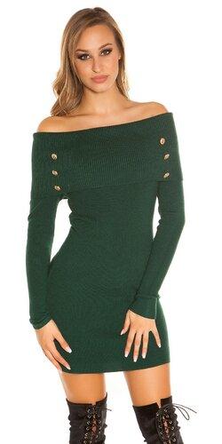 Pletené šaty s odhalenými ramenami | Zelená