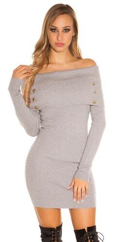 Pletené šaty s odhalenými ramenami | Šedá