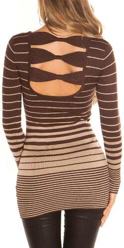 Dámsky sveter s vodorovnými pruhmi | Hnedá