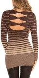 Dámsky sveter s vodorovnými pruhmi Hnedá