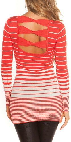 Dámsky sveter s vodorovnými pruhmi | Koralová