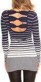 Dámsky sveter s vodorovnými pruhmi Tmavomodrá