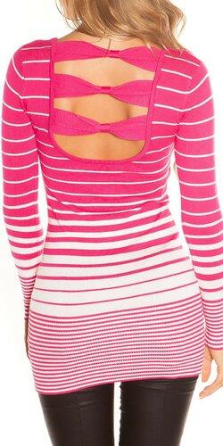 Dámsky sveter s vodorovnými pruhmi | Ružová