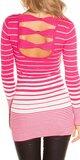Dámsky sveter s vodorovnými pruhmi Ružová
