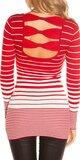 Dámsky sveter s vodorovnými pruhmi Červená