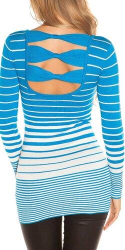 Dámsky sveter s vodorovnými pruhmi | Tyrkysová