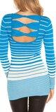 Dámsky sveter s vodorovnými pruhmi Tyrkysová
