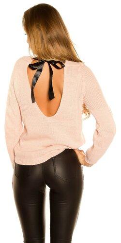 KouCla pletený sveter so stuhovou mašľou | Bledá ružová
