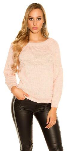 KouCla pletený sveter so stuhovou mašľou Bledá ružová