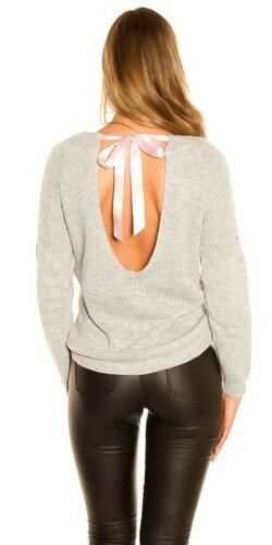 KouCla pletený sveter so stuhovou mašľou | Šedá