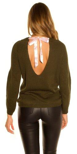 KouCla pletený sveter so stuhovou mašľou | Khaki