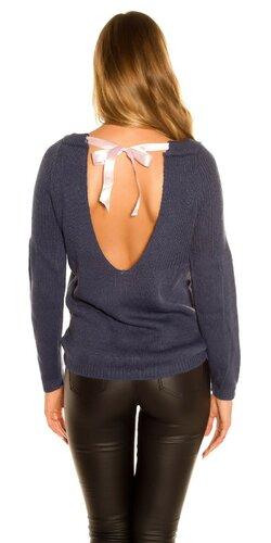 KouCla pletený sveter so stuhovou mašľou | Tmavomodrá