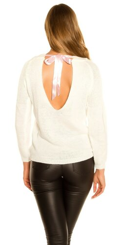 KouCla pletený sveter so stuhovou mašľou | Biela