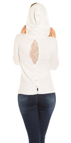 Kapucňový sveter KouCla | Biela