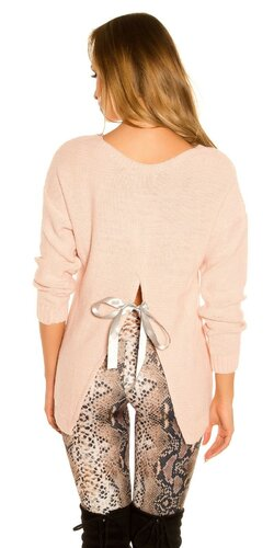 KouCla pletený sveter | Bledá ružová