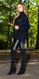 Pletený kardigán s viazaním Čierna