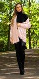Pletený kardigán s viazaním Bledá ružová