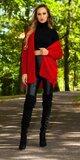Pletený kardigán s viazaním Červená