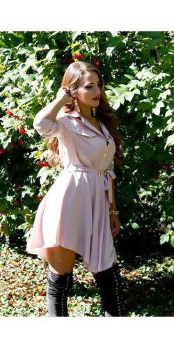 Gombíkové mini šaty | Bledá ružová