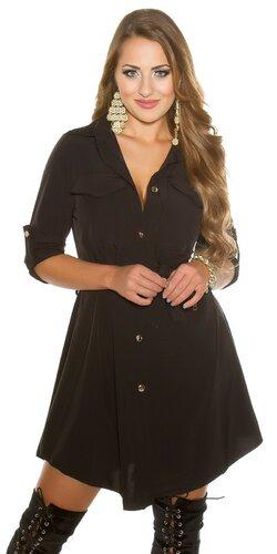 Gombíkové mini šaty Čierna